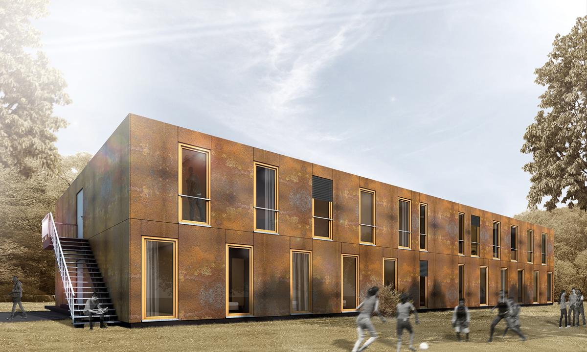 Holzmodul holzcontainer ausstattung visualisierung 02 for Holzcontainer wohnen